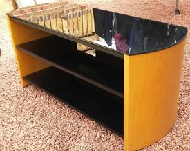 Modern Oak TV stand with smoked glass shelves,Great condition,
