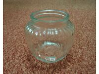 Ribbed Round Glass Vase Ornament for Fresh Flowers or Dried Artificial Flower Arrangements