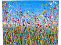 LARGE ABSTRACT NEW FLOWER MEADOW & BLUE SKY MODERN ART PAINTING ON 100 CM BOX CANVAS | Free Delivery
