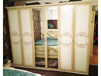 5 piece Italian bedroom set bed, wardrobe, dresser, side tables and bedframe