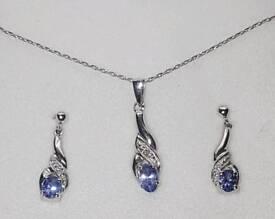 9ct White Gold Diamond Tanzanite Necklace & Earrings Set Chapelle 375 9KT Xmas Gift Stocking Filler