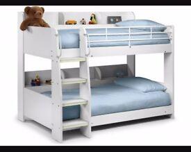 Julian Bowen white bunk bed with shelevs.