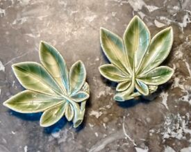 Wade Pottery vintage pair green cannabis leaf dishes