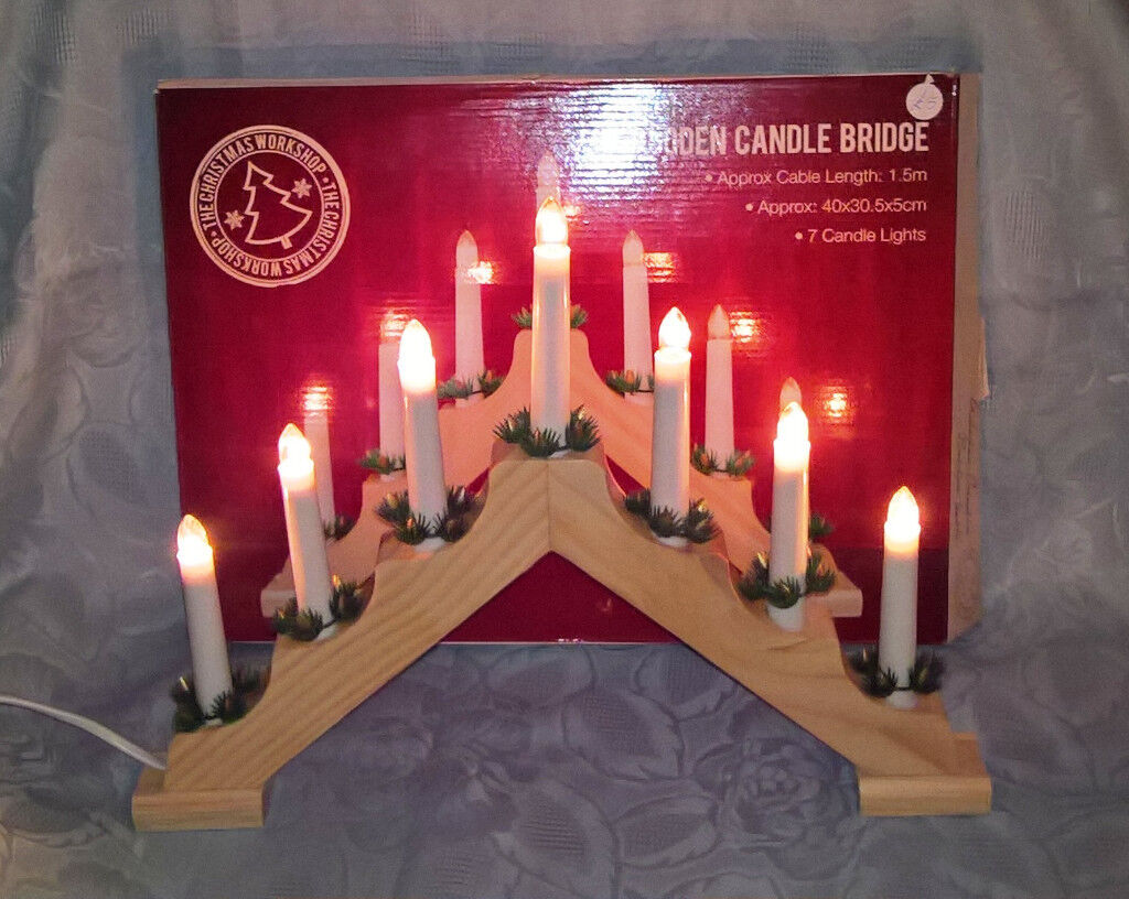 Candle Bridge - Christmas Workshop LED Wooden for sale