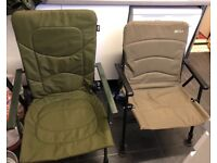 fishing chairs one is a wychwood solace and the other is a Ngt carp chair which reclines