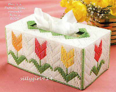 """TULIP TISSUE BOX COVER""~Plastic Canvas PATTERN~PATTERN INSTRUCTIONS ONLY"
