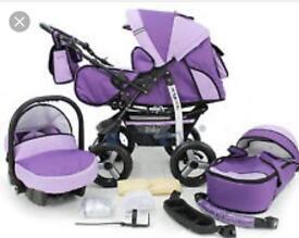Purple 3 in 1 Baby Pram Pushchair Buggy