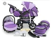 Purple Baby Pram Pushchair Buggy With Extras
