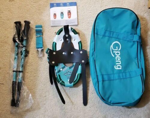 Gpeng Snowshoe Kit for Kids 7x14 - Snowshoes, Telescoping Poles, Bag