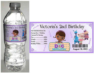 20 DOC McSTUFFINS BIRTHDAY PARTY FAVORS WATER BOTTLE LABELS (Doc Mcstuffins Birthday Party)