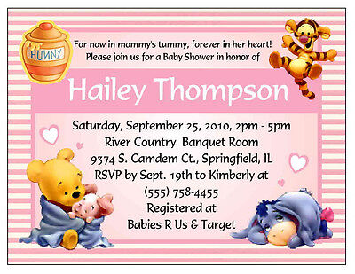 20 WINNIE THE POOH BABY SHOWER INVITATIONS - PINK (Winnie The Pooh Baby Shower Invitations)