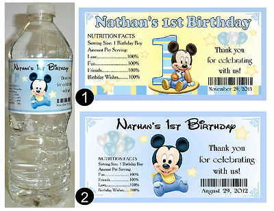 20 BABY MICKEY MOUSE 1ST BIRTHDAY ~ WATER BOTTLE - Baby Mickey Mouse Birthday