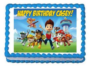 Paw Patrol Edible Party Cake Topper Decoration Frosting ...