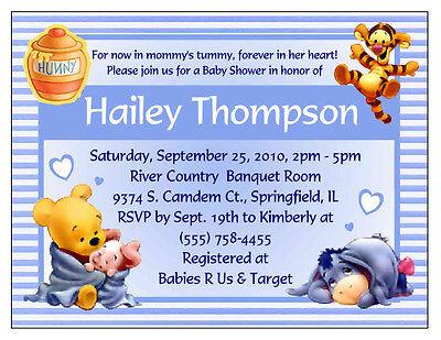 20 WINNIE THE POOH BABY SHOWER INVITATIONS - CUSTOM (Winnie The Pooh Baby Shower Invitations)