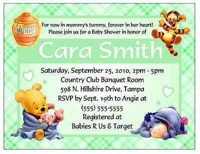 20 WINNIE THE POOH BABY SHOWER INVITATIONS GREEN (Winnie The Pooh Baby Shower Invitations)