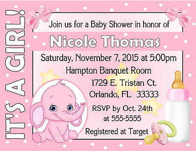 Pink Baby Shower Invitations (20 PINK ELEPHANT BABY SHOWER INVITATIONS )