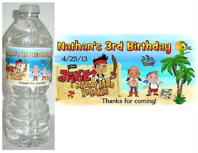 20 JAKE AND THE NEVERLAND PIRATES BIRTHDAY PARTY FAVORS WATER BOTTLE LABELS - Jake And The Neverland Party
