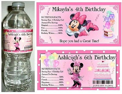 Minnie Mouse Favors (20 MINNIE MOUSE BIRTHDAY PARTY FAVORS ~ WATER BOTTLE)