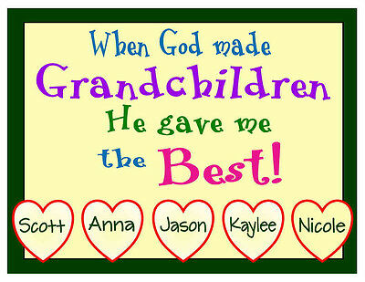 PERSONALIZED GRANDCHILDREN FRIDGE MAGNET (Personalized Refrigerator Magnets)