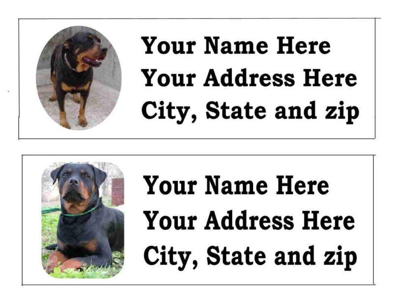 120 ROTTWEILLER DOG PET RETURN ADDRESS LABELS 8 CHOICES