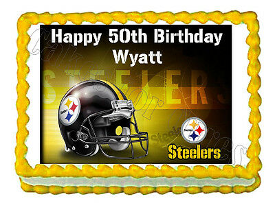 Pittsburgh STEELERS party decoration edible cake image cake topper frosting  - Pittsburgh Steelers Cake Decorations