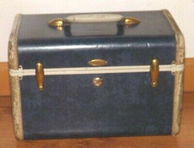 """Vtg Shwayder Bros Samsonite Luggage Make-Up Train Case Blue Marble 13"""" x 8.5"""" H"""