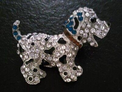 Beautiful Diamante Dalmation Puppy Dog Zinc Alloy Brooch For Scarf, Hat, Jacket.