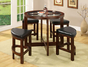 Unique Stylish 5 Piece Round Glass Counter Height Dining Table Amp Stool Set