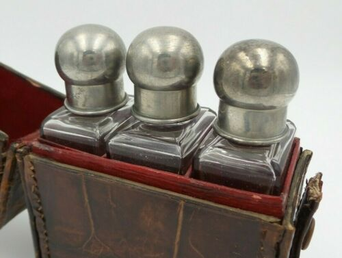 Great Antique Traveling Set - 3 Perfume Bottles w/ Leather Case & Stoppers