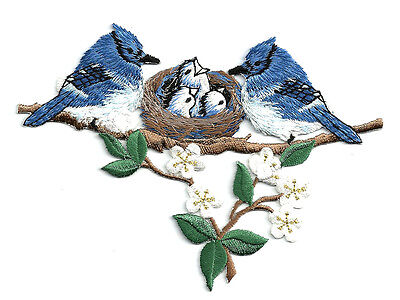 Blue Jay - Birds - Blue Jays W/Nest - Embroidered Iron On Applique Patch - Craft ()