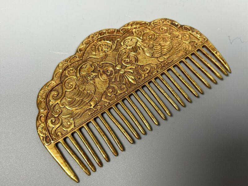Chinese Rare Qing Dynasty Collection  Old copper gilded  Mandarin duck comb