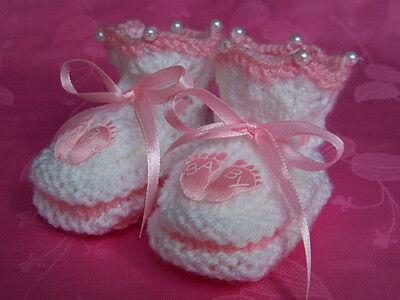 Babyschuhe rosa weiß Mädchen  Krabbelschuhe gestrickt Handarbeit 17/18  9,5 cm