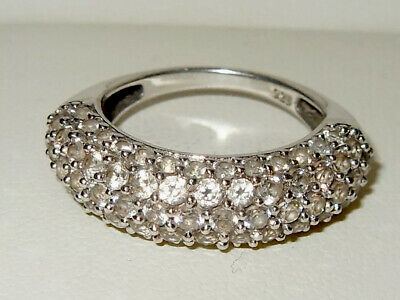 Beautiful Sterling Silver Sparkling Cubic Zirconia Pave Cluster Ring - Jewellery