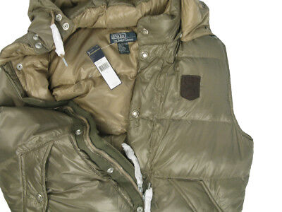 NEW! $225 Polo Ralph Lauren Peak Down Puffer Vest!  Large  *OLIVE*