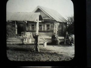 VINTAGE-COLLECTIBLE-GLASS-PICTURE-NEGATIVE-Country-Home-in-Russia