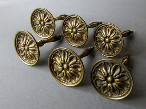 6 VINTAGE Brass CURTAIN TIEBACKS for Draperies CLASSIC ROSETTE Portugal