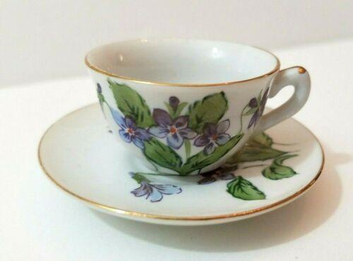 Vintage Miniature Teacup & Saucer Purple February Violets White Porcelain Gold