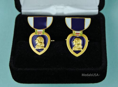 Purple Heart Cuff Links in Presentation Gift Box - medal cufflinks