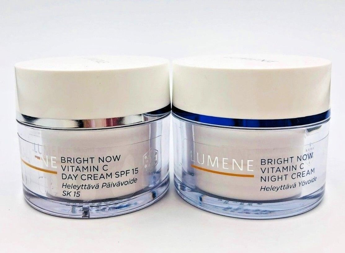 LOT OF 2! LUMENE Bright Now Vitamin C 1 Day & 1 Night Creams