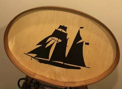 Vintage Hand Made Solid Wood Sailboat Oval Tray 17