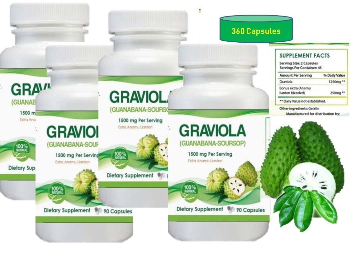 Graviola 1500 mg x/serving 360 Capsules Guanabana / Soursop 6 Month supply
