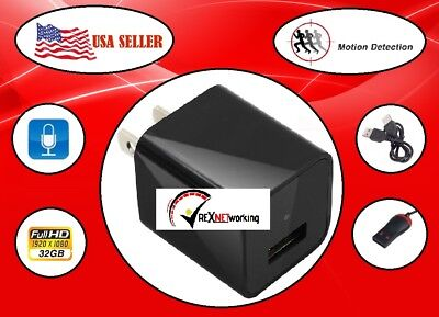 HD! 1080P 32GB Support DVR Spy Hidden Camera USB Adapter Wall Charger For Phone
