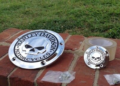OEM Harley No1 Willie G Skull Derby & Timer Cover Twin Cam Chrome