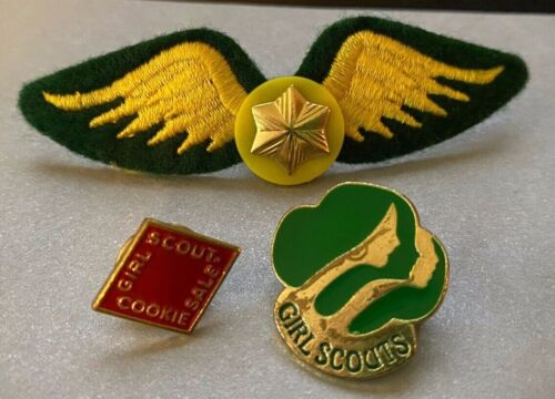 Girl Scout Pins 1980 Lot of 3 Cookie Sale Gold Star Wings Lapel Sash Hat