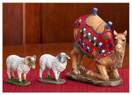 Kneeling Camel and Two Awassi Sheep - For 10 Inch Real Life Nativity