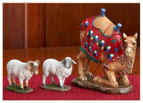 Kneeling Camel and Two Awassi Sheep - For 7 Inch Real Life Nativity