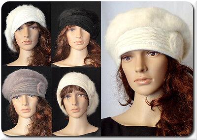 eret Französische Mütze Wollmütze  Kaninchenwolle Hut Blume (Baskenmütze Französische Mütze)