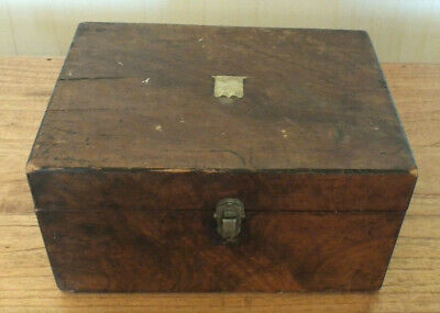 Antique Writing Slope Wooden Document Box Brass inlay For storage use or repair
