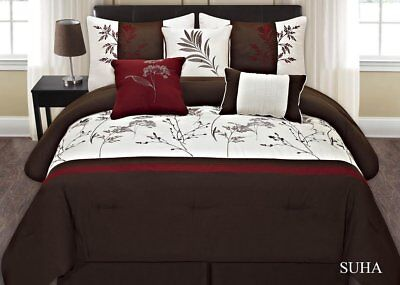 Fancy Linen 7pc Cal. King Embroidery Brown Off White Burgundy Comforter Set New ()