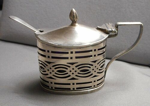 Antique 1901 English Sterling Reticulated MUSTARD POT Cobalt Glass Liner & Spoon